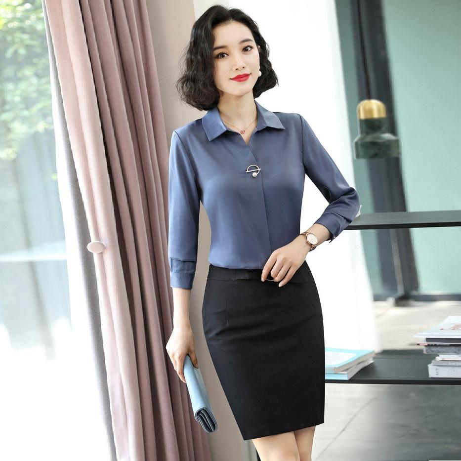 Ladies Work Blouses Women 2 Piece Skirt and Top Sets Long Sleeve Shirts Office Business Suits