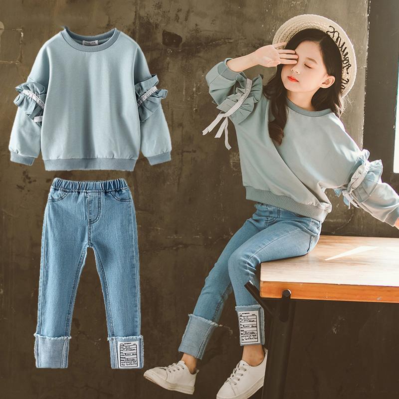 Las chicas nuevas Trajes encanto de chicas adolescentes ropa para niños juegos de la ropa Top Demin Pantalones de traje 2pcs sistemas Adolescente Ropa