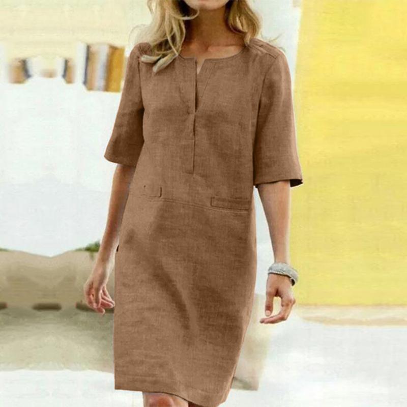 38 # Женщины Повседневная Хлопок линия Мини-платье Sexy 1/2 рукава Повседневная Soild рубашка платье офис дамы Сыпучие Сарафаны Платья Vestidos