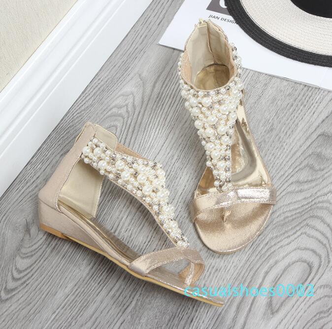 Été 2020 Nouveau style sandales compensées européennes et perle de la mode américaine mi-talons pour les femmes de Bohême C03