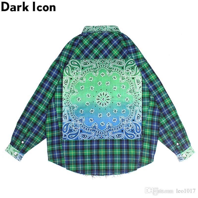 Dark Icon Bandana Plaid Street Shirt Men Long Sleeve Checkered Hip Hop Men's Shirts Streetwear Clothes