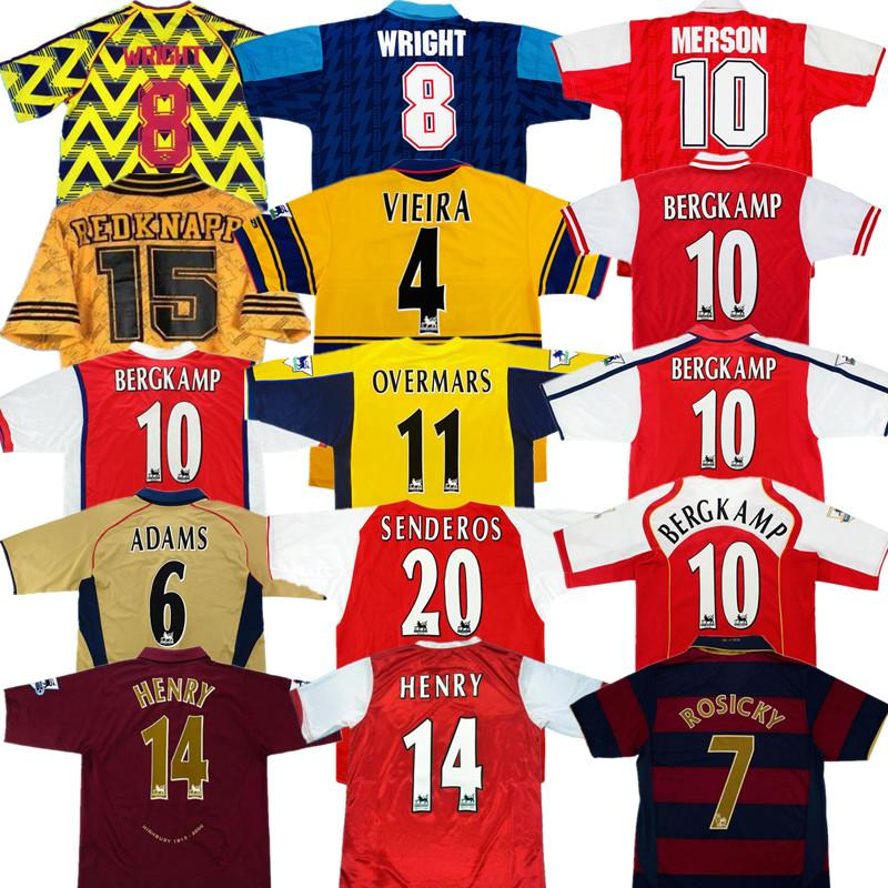 Retro Bergkamp Henry Fussball Jersey 91 94 96 97 98 01 02 04 05 06 07 08 Highbury Ancient Maillot Gunner älteste Hemd