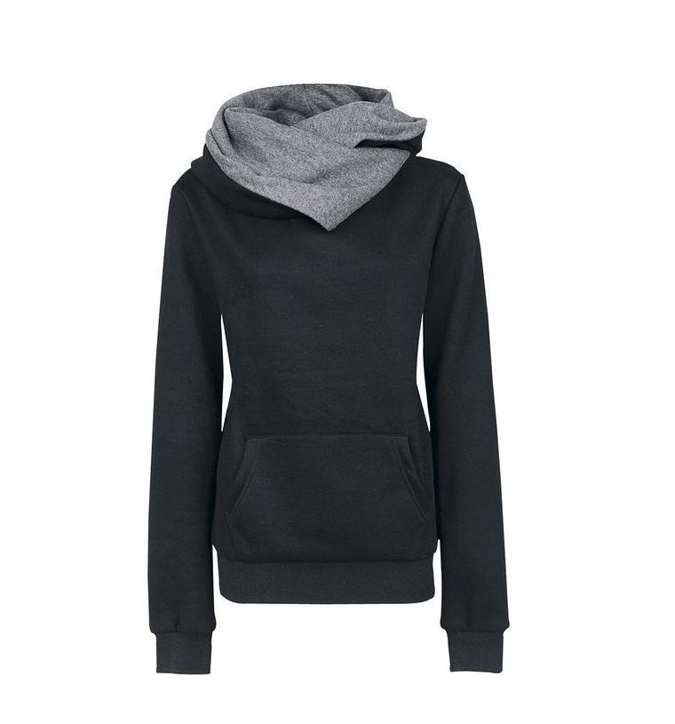 femmes de personnalité hoodies avec l'automne et l'hiver de poche talonnage confortable tops 5 couleurs nouvelles dames col haut sweat-shirt chaud de
