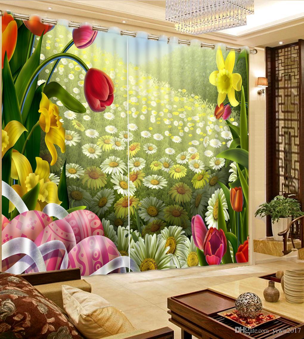 모던 럭셔리 Hollyhock 3D Blackout Window 커튼 - 키즈 룸 Living room 호텔 Drapes Cortinas