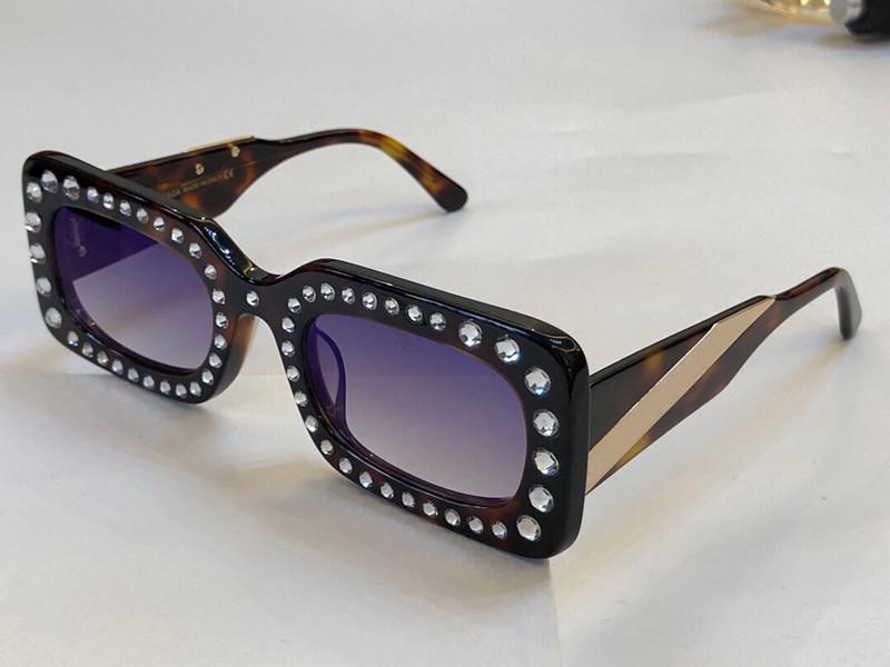 Luxury-Limited style womens designer sunglasses 020 new avant-garde style Rectangular-frame eye Glasses with diamond top quality uv400 lens