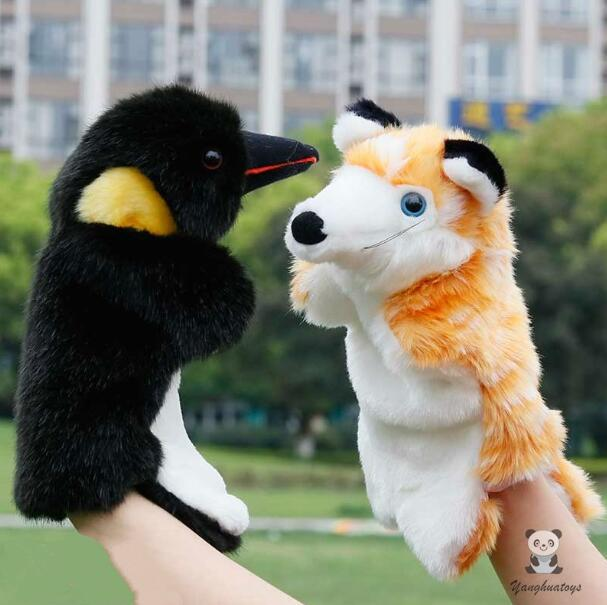 Mix wholesale hand Puppets toys Soft plush fox and crow glove dolls puzzle children big puppets
