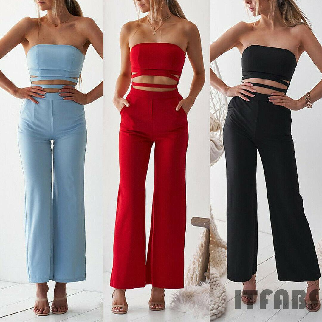 Women Solid Jumpsuit Romper Bodycon Playsuit Sexy Clubwear Women Clothes Strap Long Trousers Party Leotard