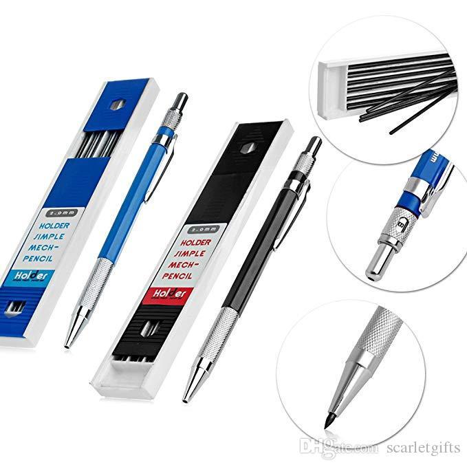 Redacción Portaminas Mech lápiz mecánico Set 12pcs 2.0mm 2B plomo recargas metal HolderDrafting del dibujo de lápiz de bocetos para el artista