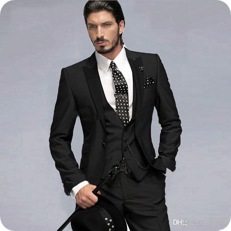 Özel Siyah Erkekler Düğün Smokin Damat Giymek Suits Giymek 3 Adet Klasik Fit Sağdıç Adam Giymek Blazer Kıyafet Ince Terno Masculino Kostüm Homme