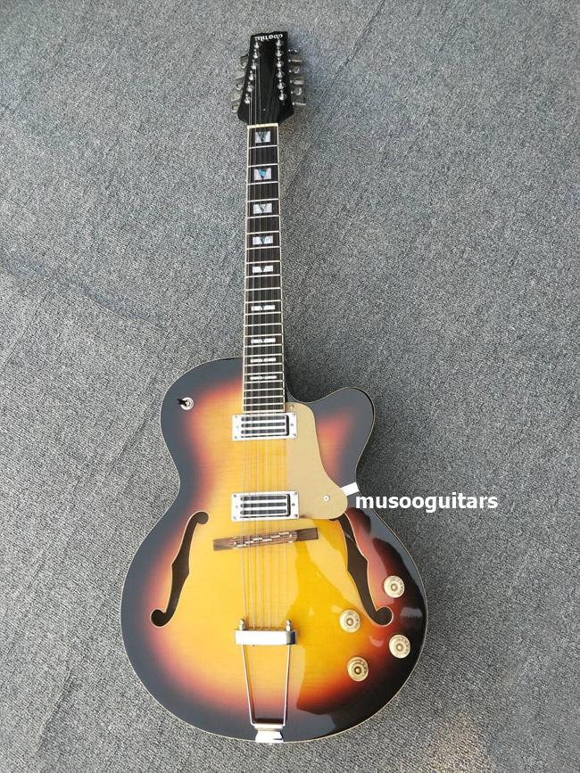 Guitarra elétrica do jazz das cordas do costume 12 do tipo de Musoo na cor do sunburst