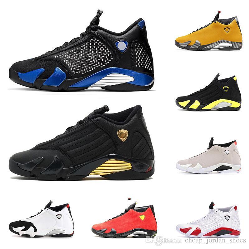 Sıcak satış 14 s erkek basketbol ayakkabı 14 tanımlayan anlar Son Shot Thunder Varsity kraliyet altın kırmızı süet moda erkekler spor sneakers boyutu 7-13