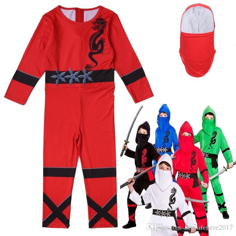Ninjago Cosplay Costume Boys Power Rojo Negro Azul Blanco Niños Vestido de lujo Edad 3-13 Y