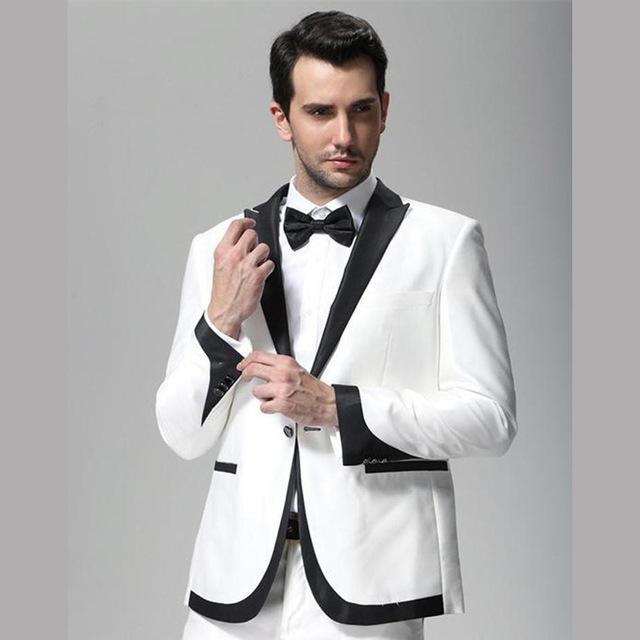 Benzersiz tasarım beyaz ve siyah Yaka düğün Smokin Damat erkekler suit Giyim Slim Fit adam Groomsmen balo akşam Parti erkek takım elbise 2 adet