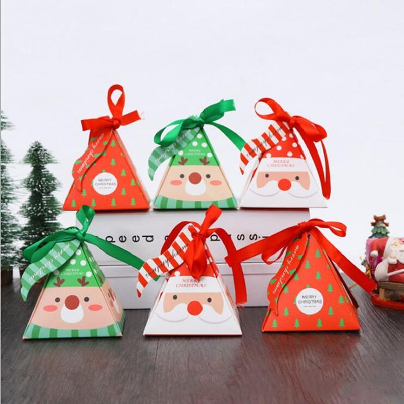 10 PCS / Set Joyeux Bonbonnière Sac de Noël d'arbre de Noël coffret-cadeau avec Bells sac de papier cadeau Fournitures Container Navidad