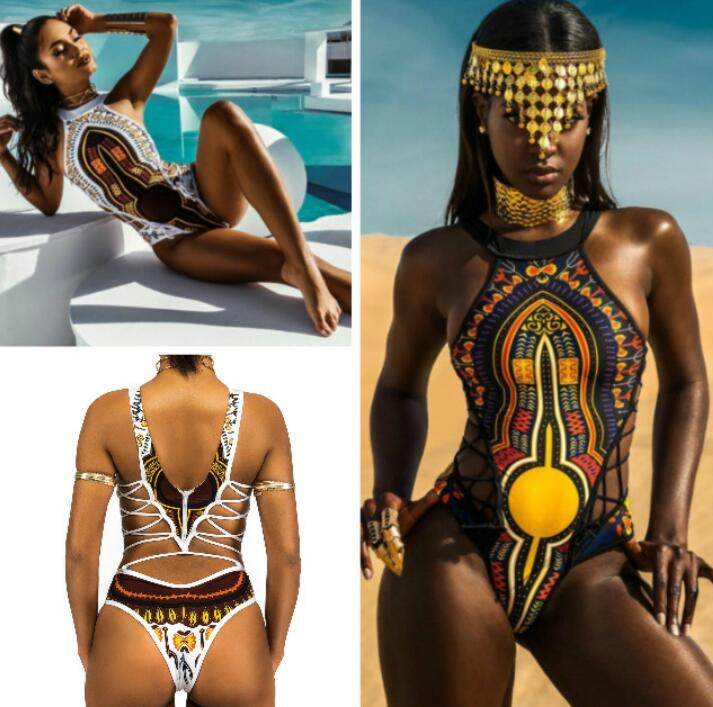 New One Piece Swimsuit Bandage bodysuit African Printed Swimwear Female High Cut Monokini Sexy High Neck fz4856