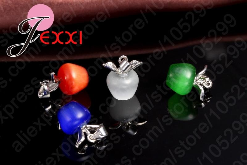 JEXXI 5 Colors New Shiny 925 Sterling Silver With Lovely Apple Cat Eyes Stone Pendant Necklace/Earring Jewelry Gift Sets