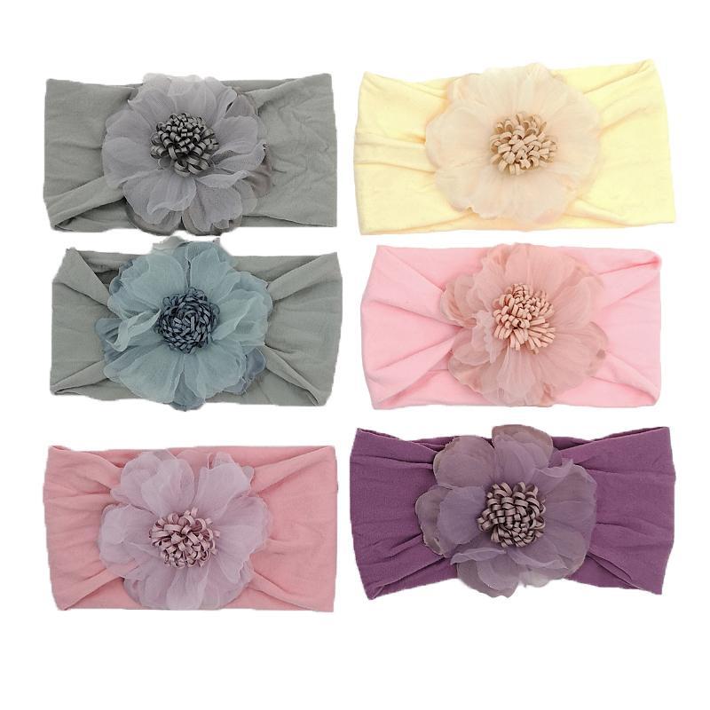 12 unids / lote 6colors nylon turband nudo diadema bebé cabeza defuerza turbante fotografía accesorios para bebés accesorio para el cabello Kidocheese
