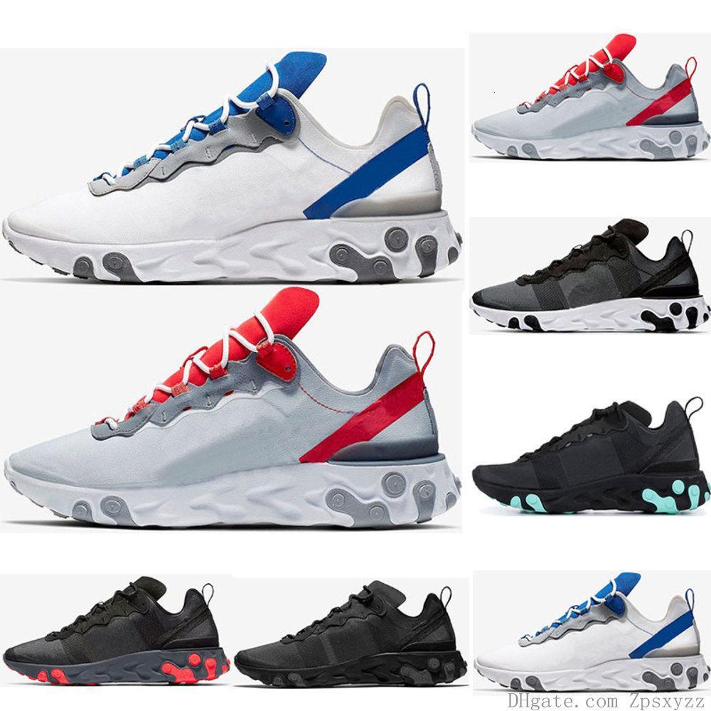 2019 Reagir elemento 55 Running Shoes For Men Womens Jade Solar Red Triple Black White vermelho real Tênis Sports Shoes Tamanho 36-45
