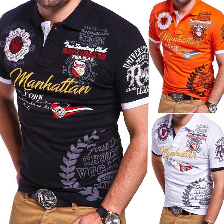 dos homens Polo Moda magro dos homens Polos Cartas Casual Imprimir Shirts Mens Europeu e Polo American Style shirt 4 cores Tamanho S-3XL