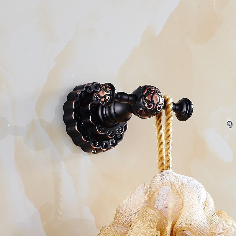Vidric Wand befestigte massives Messing Traditioneller Kleiderbügel ORB Schwarz, Vintage-Schnitzen Bronze Bad Handtuchhaken Wandaufhänger