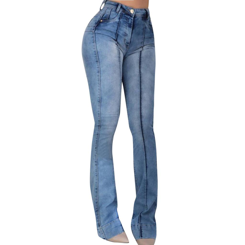 Jaycosin clothes 2019 Women High Waist jeans Pocket Wide Leg Jeans Flared Skinny new fashion high street Trousers