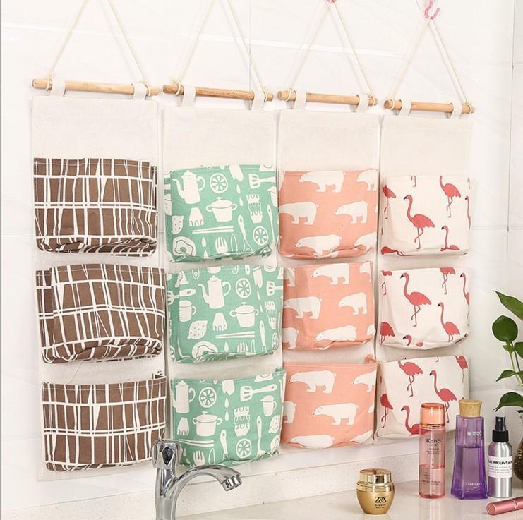 Mehr Funktion von Einrichtungs Drei Taschen hängend Tasche hängend Accept Tasche Küche Schlafzimmer Tiermuster-Tür-Rück