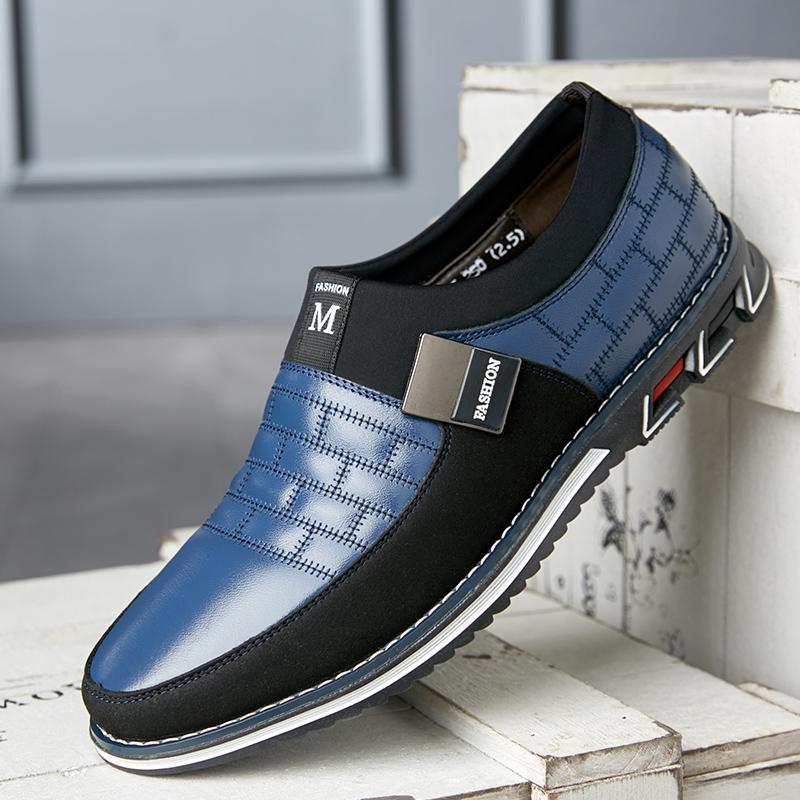 Llegado de invierno de cuero genuino 2020 en mocasines Zapatos Hombres Hombres Casuales Hombres de felpa Calientes cálidos Mobilinds Slegs Slip en zapatos de conducción transpirables 48 Qwulc