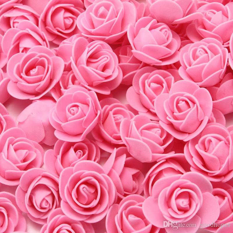 100pcs artificiels rose fleur de la mousse de mousse de rose de rose fausse fleur bricolage diy décor de mariage diy-demoiselle d'honneur bouquets bébé douche fête