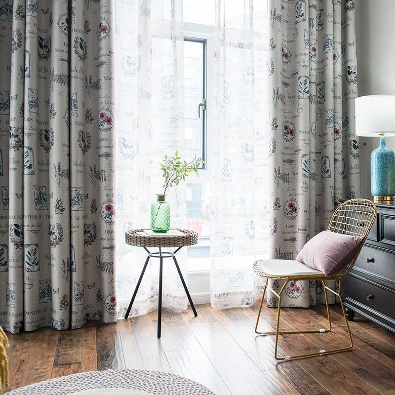 Идиллия Современные шторы для гостиной Столовая Спальня Черный Шелк Shading Печать Шторы Шторы экрана Nordic Style