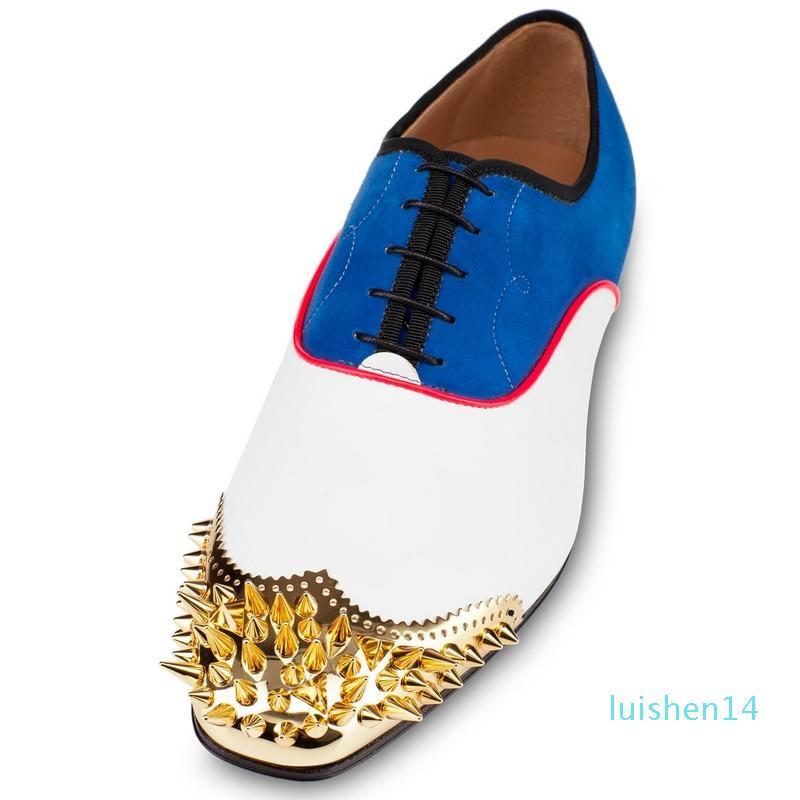 [Com a caixa] elegantes parte inferior vermelha de Oxford Shoes Homens, Mulheres Spikes vestido de casamento Shoes Slip On preguiçosos sapatos, ao ar livre botas de uso diário 35-46 l14