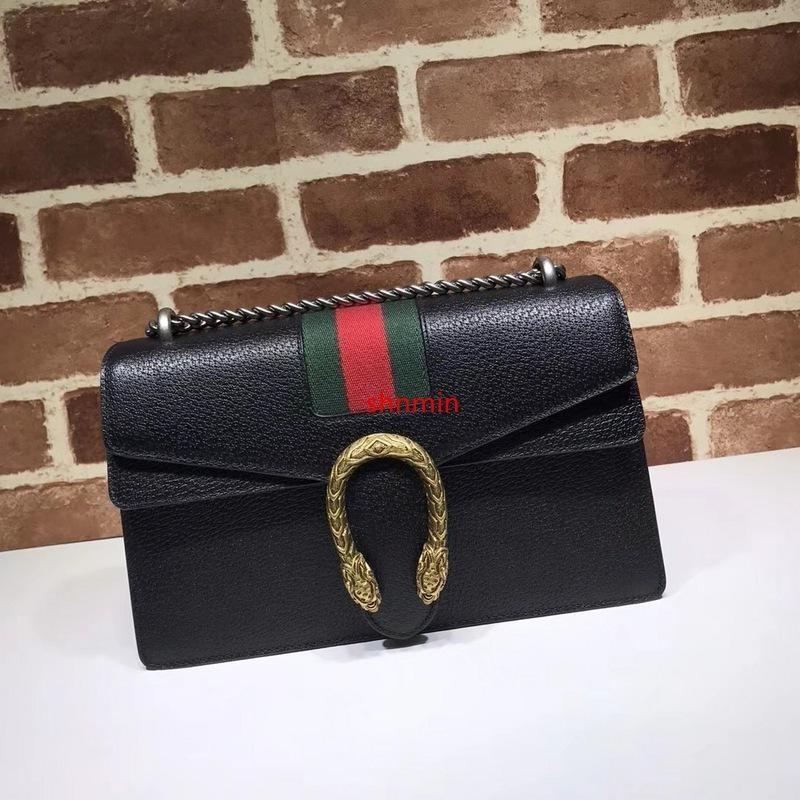 2020 diseño de calidad superior a estrenar de la hebilla de la letra grabado en relieve del hombro de la raya verde de la correa de las mujeres del bolso de cuero genuino bolso de Crossbody 400249