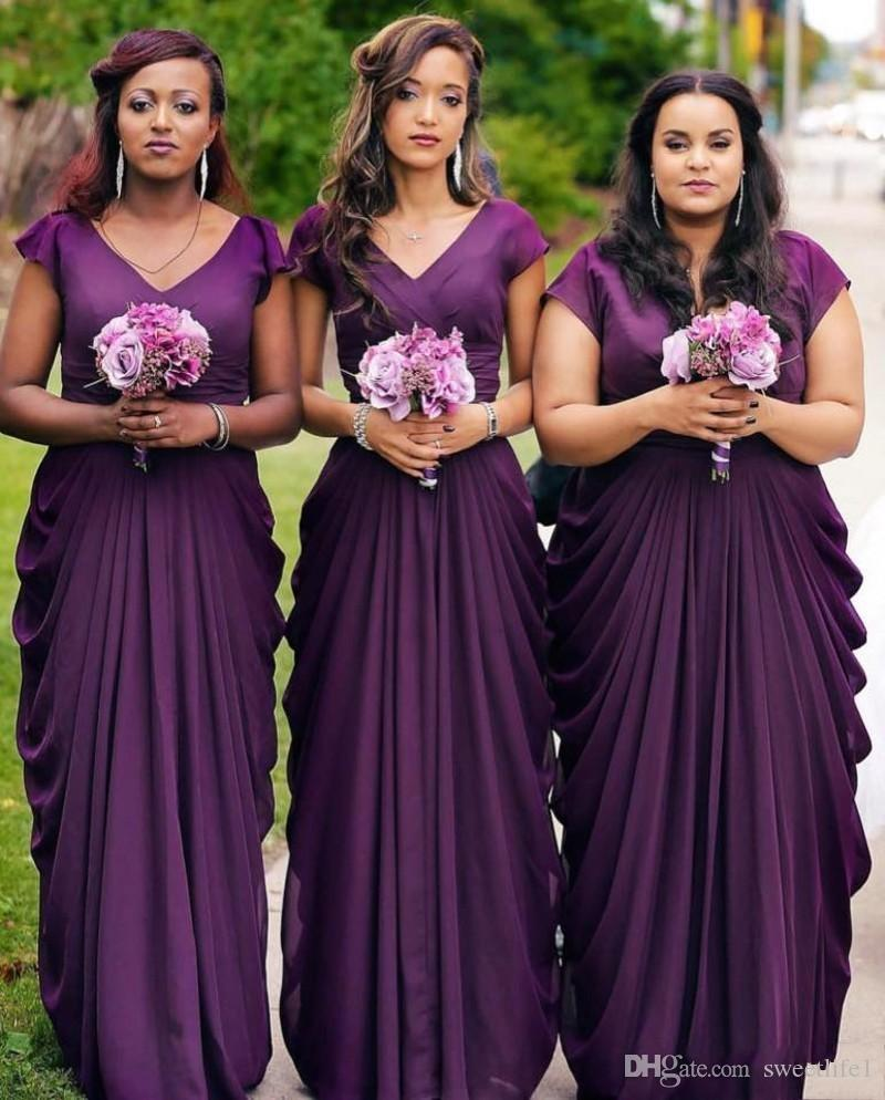 2020 Purple Bridesmaid Dresses Long Modest V Neckline Capped Sleeves Draping A Line Country Weddings Maid of Honor Plus Size Dresses