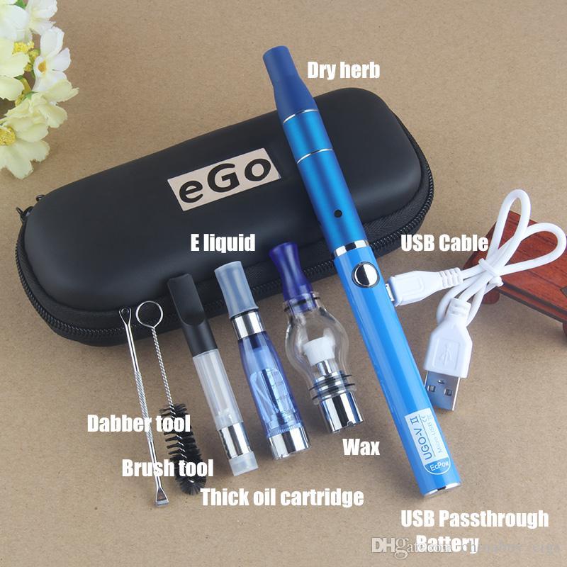 Hotsale 4 in 1 Multi Vape Pen Starter Kits for Dry Herb Wax Dab Thick Oil Eliquid EGO UGO V II 4in1 E-Cig Vaporizer Kit Authentic