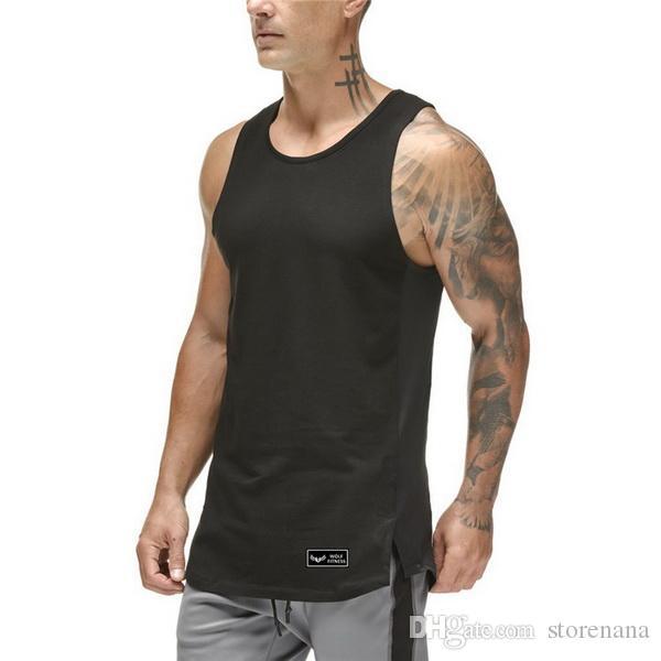 Marca nueva llanura Camisetas sin mangas hombres Gimnasios Stringer Camisa sin mangas lados abiertos en blanco ropa Sportwear algodón Muscle chaleco vest Gym