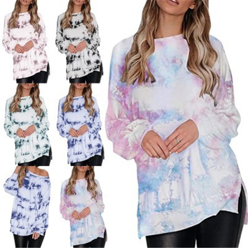 2020 otoño invierno del tinte del lazo para mujer Capucha Manga diseño nuevo de la manera larga pendiente colores divididos lateral remata la blusa general Jerseys