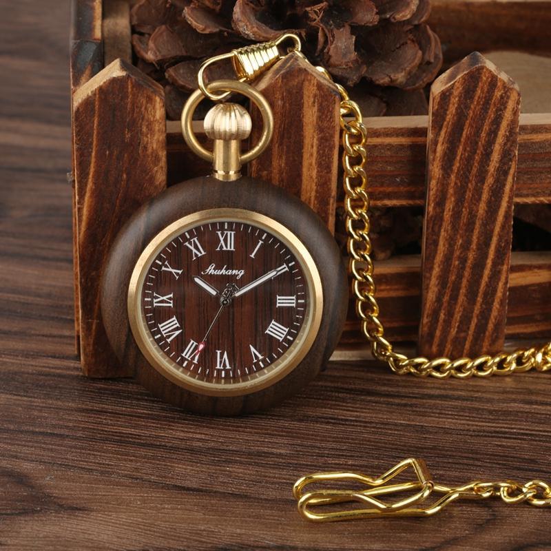 Yaratıcı Ahşap İzle Erkekler Cep Saatler Retro Ceviz Ahşap Kasa Standart Yuvarlak Dial Takı Quartz Saat Saatler Sanat Koleksiyon