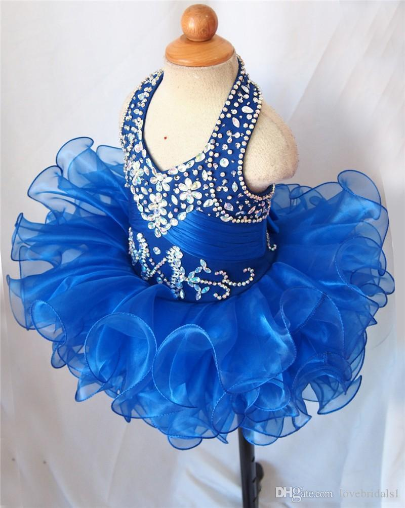 Royal Blue Halter Girl's Pageant Dresses Baby Cupcake Ruffles Tutu Infant Flower Girls Dresses Rhinestone Beaded Mini Toddler Princess