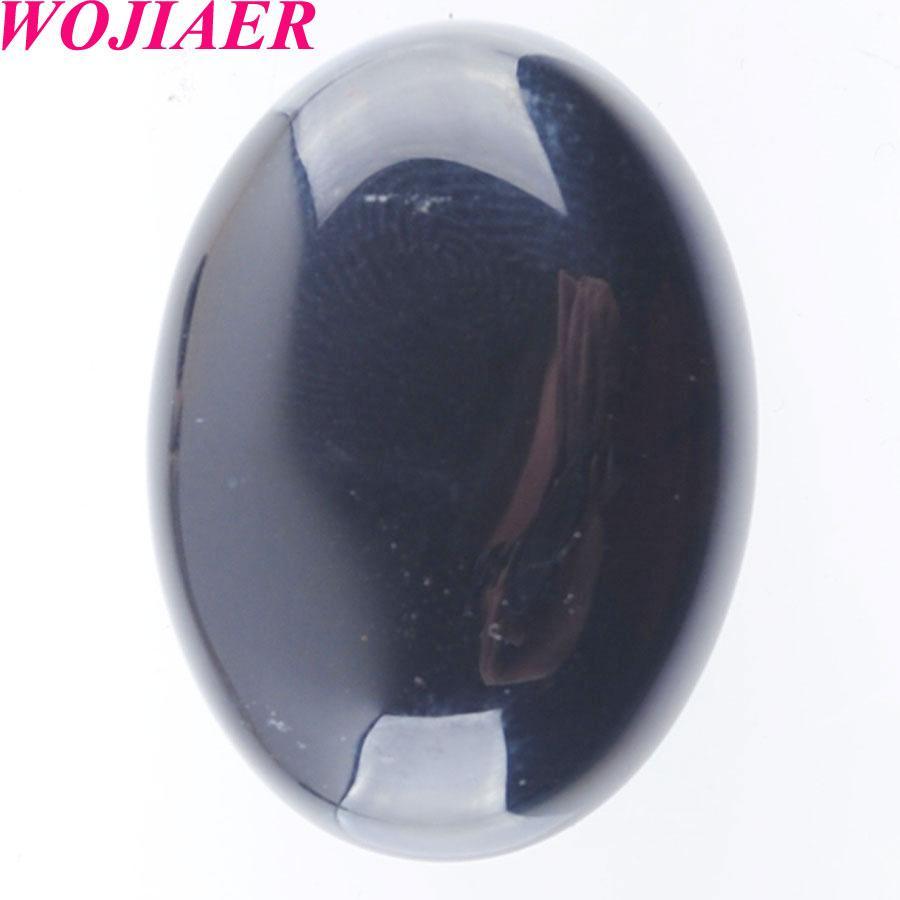 WOJIAER natürliche schwarze Achat Edelstein-Stein-Korn-Oval Cabochon CAB Kein Loch 22x30x7MM Für Schmuck DU8093 machen