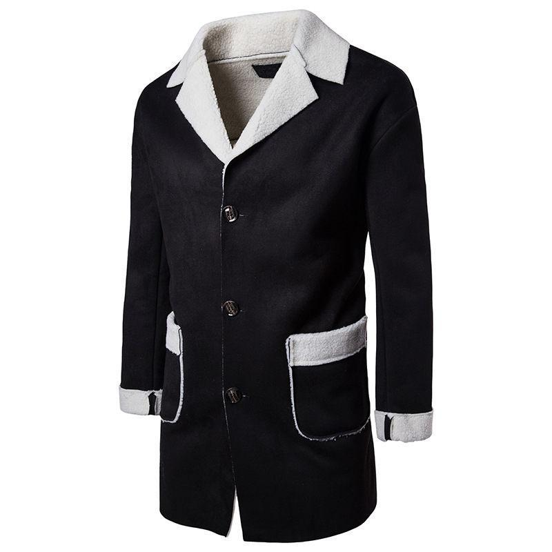 Designer Coats Solid Color Lapel Neck Long Coats Button Casual Style Fashion Hoome Clothing Winter Trench Mens