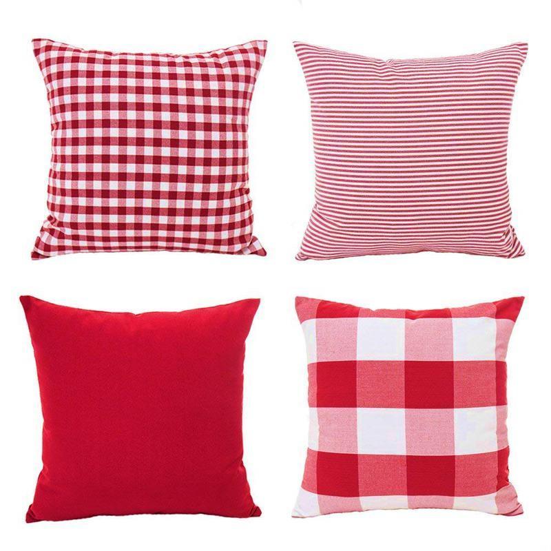 Christmas Red White Throw Pillow Case Cushion Cover Holiday Decor for Sofa Set of 4(Checkered Plaid, Stripe, Lattice)