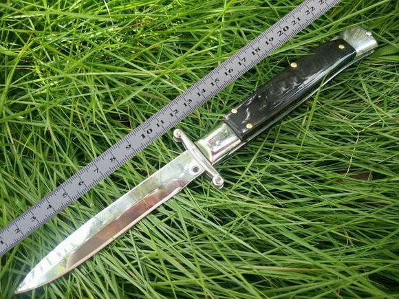 고품질 9 인치 검은 EDC 이탈리아어 스타일 보호자 신성한 접이식 포켓 나이프 더블 자동 440 스테인레스 스틸 블레이드 캠핑 나이프
