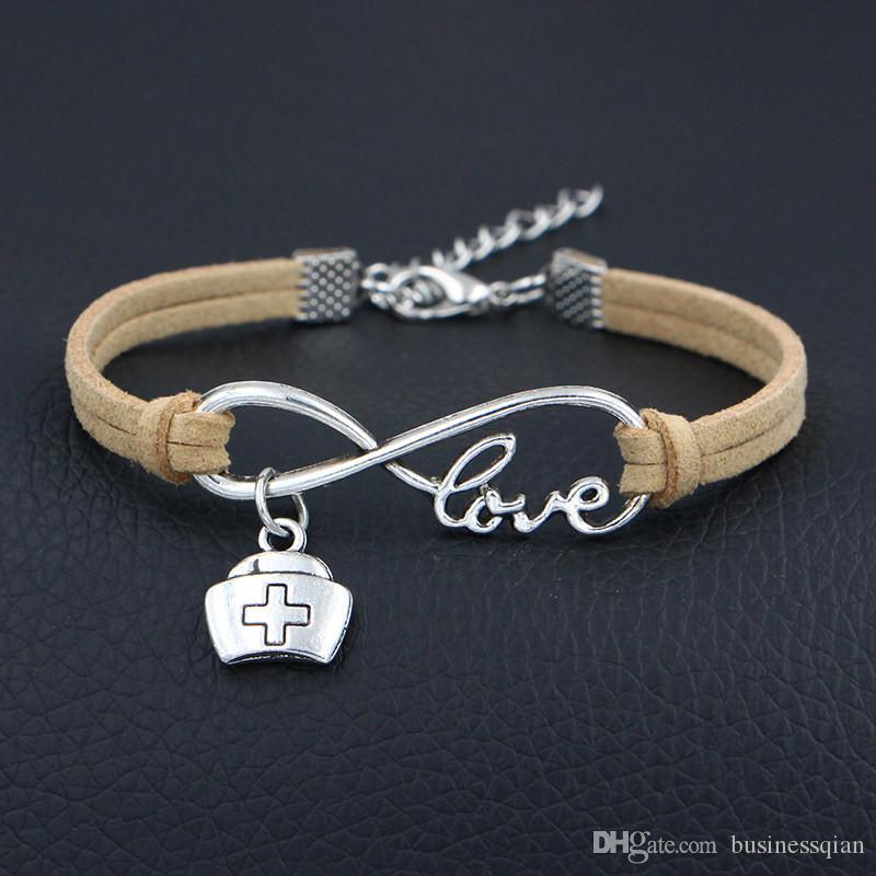 Silver Infinity Love Doctor Medicine Box Nurse Cap Bangles Beige Leather Suede Charm Bracelets for Women Men Girl Jewelry Accessories Gifts