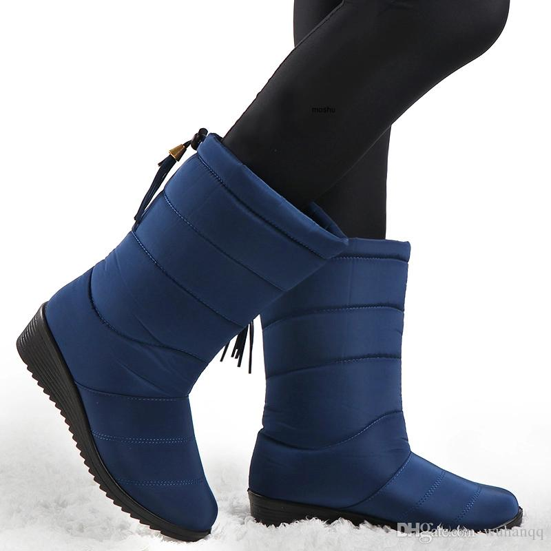 Kış Çizmeler 2019 Kadınlar Su Geçirmez Sıcak Kar Botları Kadın Orta Buzağı Aşağı Ayakkabı Bayanlar Peluş Astarı Siyah