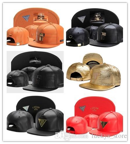 New Cayler Sons marrone cappello di snapback in pelle nera caldo marchio hip hop moda sport cappello da baseball per uomo donna snapbacks di alta qualità