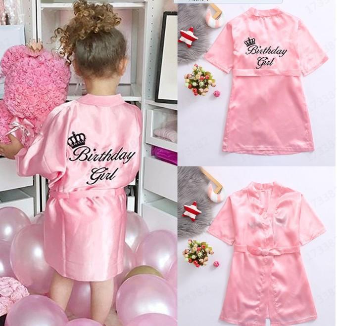 accappatoio di Fiore regalo dolce bambini Pigiama abito di raso bambini Kimono Robes Birthday Girl Dress accappatoio di seta camicia da notte per bambini 5 formati