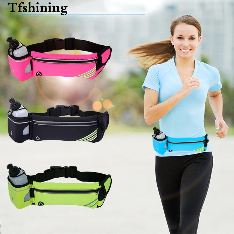 Tfshining Waterproof Running Hydration Belt Reflective Sport Running Water Hip Phone Bag Pouch Racing Gym Waist Pack With Bottle