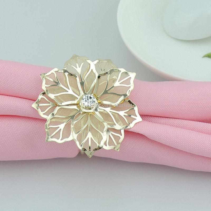Мода салфетки кольца высококлассные Золотой цветок горный хрусталь свадьба салфетка кольцо Главная отель красивый стол украшения бесплатная доставка DHL WX9-1179