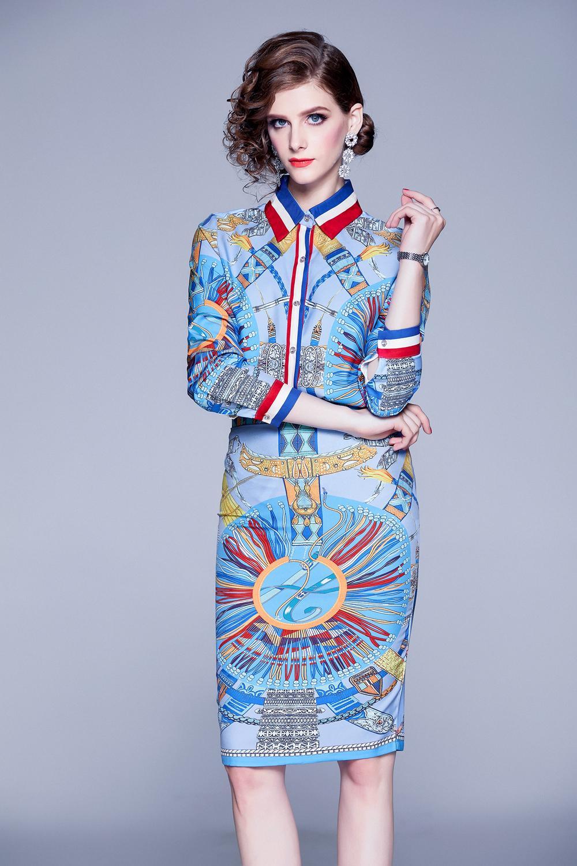 2020 İlkbahar Yaz Sonbahar pist 2adet Kadınlar Bayanlar Vintage Baskı Yaka Uzun Kollu Bluz Midi Etek Kıyafetleri Suits Shirt ayarlar