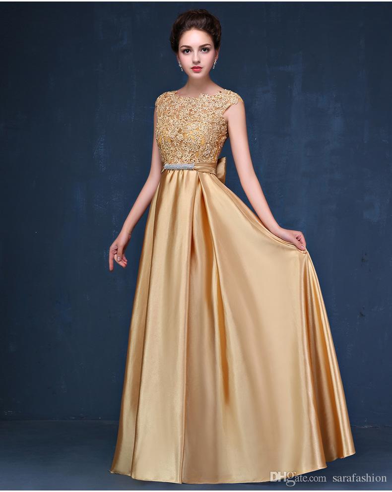 Compre Vestidos Dorados De Dama De Honor Con Apliques De Encaje 2019 Vestido Largo Elegante Para Fiesta Vestidos Nuevos Hasta El Suelo A 6332 Del