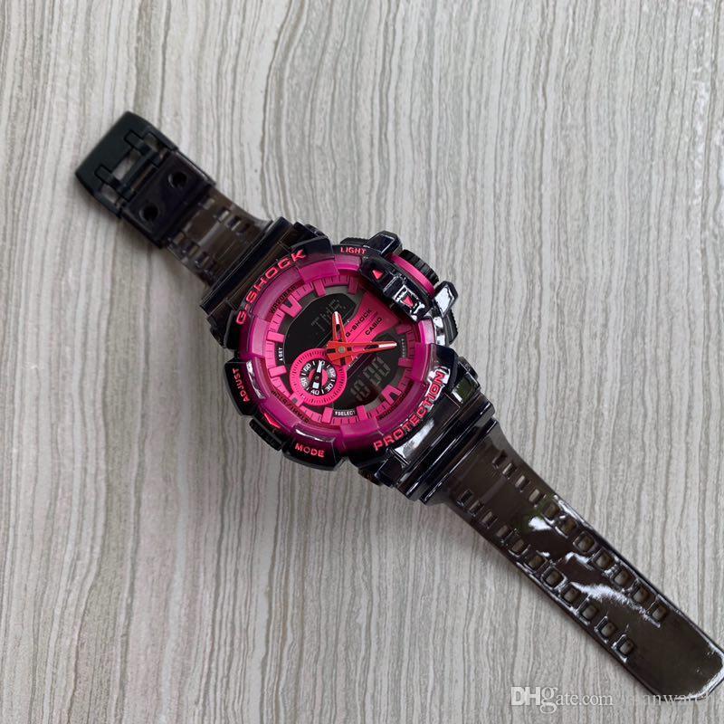 Compre Los Deportes De Los Hombres De Lujo Del Reloj De La Correa Transparente Dial Redondo LED Multifunción Deportivo Reloj Electrónico De Todas Las